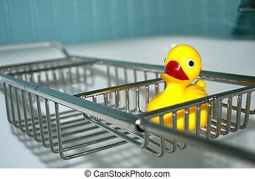 rubber duckie, caddy, gele, bad