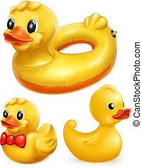 Rubber ducks, 3d vector icon set