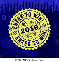 Rubber ENTER TO WIN! Stamp Seal on Winter Background