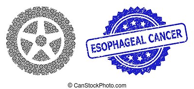 Esophageal Cancer textured stamp seal and vector fractal composition tire wheel. Blue stamp seal has Esophageal Cancer title inside rosette.