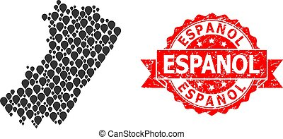 Rubber Espanol Stamp and Mark Mosaic Map of Castellon ...