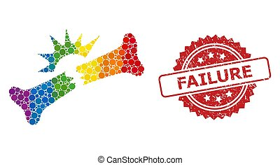 Rubber Failure Stamp and Bright Colored Bone Fracture Collage