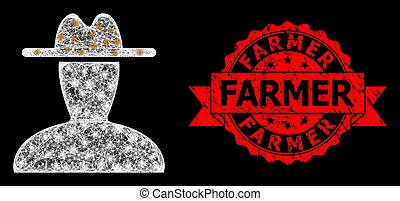 Shiny mesh polygonal peasant persona with light spots, and Farmer dirty ribbon stamp seal. Red stamp includes Farmer text inside ribbon.