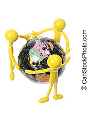 Rubber Figures and World Globe