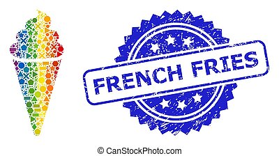 Rubber French Fries Stamp and Multicolored Geometric Ice Cream Mosaic