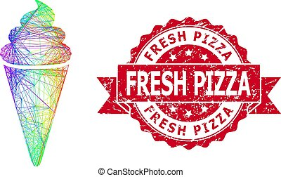 Rubber Fresh Pizza Stamp Seal and Multicolored Hatched Ice Cream