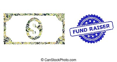 Military camouflage combination of usd banknote, and Fund Raiser scratched rosette seal print. Blue seal has Fund Raiser text inside rosette. Mosaic usd banknote constructed with camouflage texture.