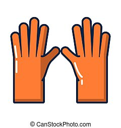 rubber gloves flat style icon vector illustration design