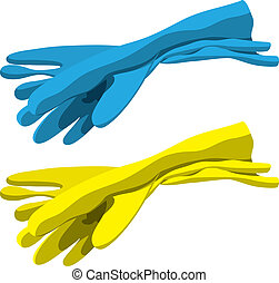 Group of blue and yellow cleaning rubber gloves