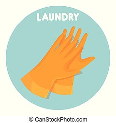 rubber gloves laundry service vector illustration design