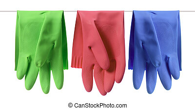 Rubber Gloves on White Background