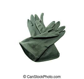 rubber gloves on white background