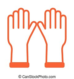 rubber gloves protection toolline style vector illustration design