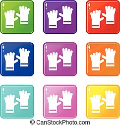 Rubber gloves icons of 9 color set isolated vector illustration