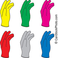 Six vector illustration of colors rubber gloves.