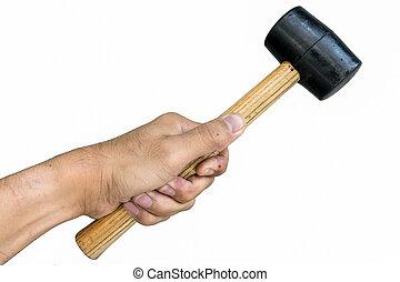 rubber, hamer, hand