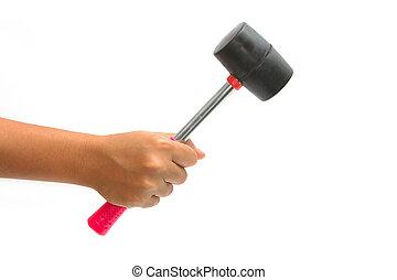 rubber, hamer, holdingshand