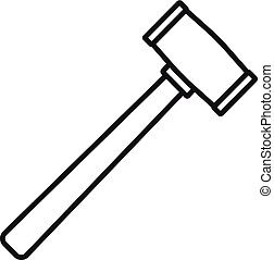Rubber hammer icon, outline style