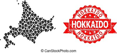 Rubber Hokkaido Stamp Seal and Pointer Mosaic Map of ...