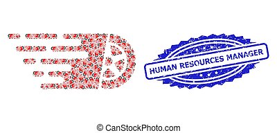 Rubber Human Resources Manager Seal and Recursive Tire Wheel Icon Mosaic