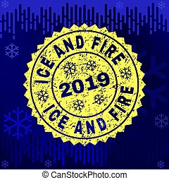 Rubber ICE AND FIRE Stamp Seal on Winter Background