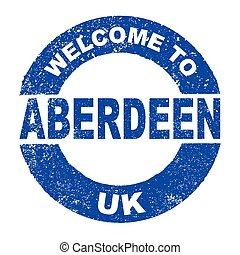 Rubber Ink Stamp Welcome To Aberdeen UK