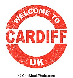 Rubber Ink Stamp Welcome To Cardiff UK