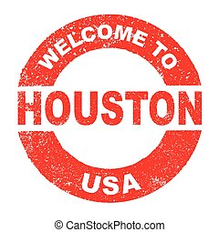 Rubber Ink Stamp Welcome To Houston USA