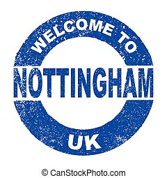 Rubber Ink Stamp Welcome To Nottingham UK