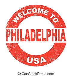 Rubber Ink Stamp Welcome To Philadelphia USA