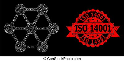 Mesh polygonal node connections on a black background, and ISO 14001 dirty ribbon stamp. Red stamp has ISO 14001 caption inside ribbon.