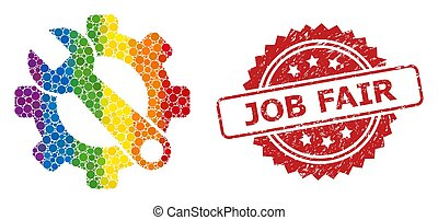 Rubber Job Fair Stamp and Spectrum Service Tools Collage