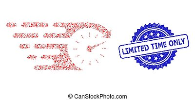 Rubber Limited Time Only Stamp and Fractal Time Icon Collage