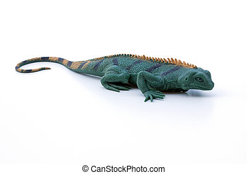 Rubber Lizard - A life like green and yellow lizard isolated...