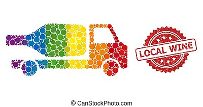 Rubber Local Wine Stamp and LGBT Wine Delivery Mosaic
