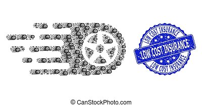 Rubber Low Cost Insurance Round Seal and Fractal Tire Wheel Icon Mosaic
