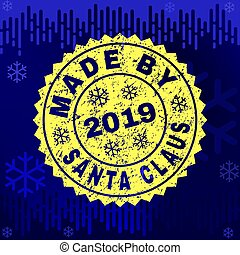 Rubber MADE BY SANTA CLAUS Stamp Seal on Winter Background