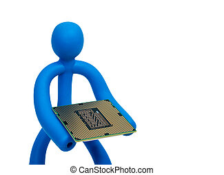 Blue rubber man keeps the processor isolated on white background