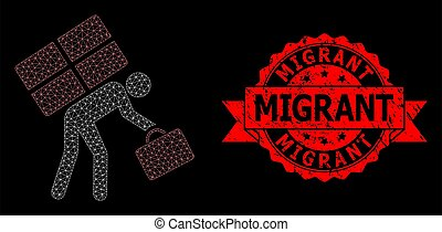 Mesh web refugee person on a black background, and Migrant unclean ribbon stamp seal. Red stamp seal includes Migrant caption inside ribbon. Vector model created from refugee person icon with mesh.