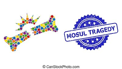 Rubber Mosul Tragedy Stamp and Colored Mosaic Bone Fracture