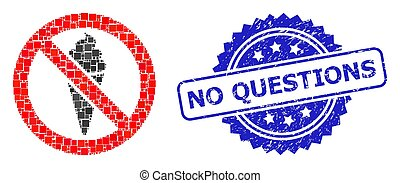 Rubber No Questions Stamp Seal and Square Dot Collage Forbidden Ice Cream