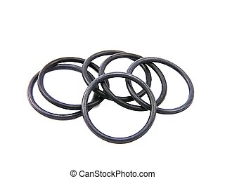 Rubber o-ring. - Group of six black rubber rings.