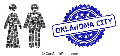 Rubber Oklahoma City Stamp Seal and Square Dot Collage Wedding Emotions