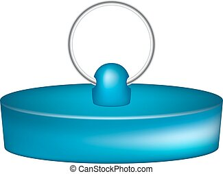 Rubber plug in blue design on white background