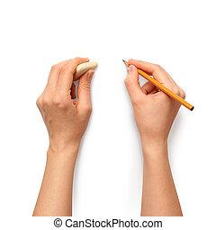 rubber, potlood, raderen, menselijke handen