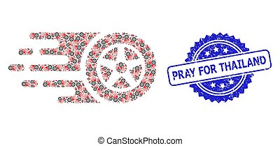 Rubber Pray for Thailand Stamp and Recursive Tire Wheel Icon Composition