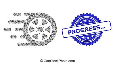 Rubber Progress... Seal and Recursion Car Wheel Icon Mosaic