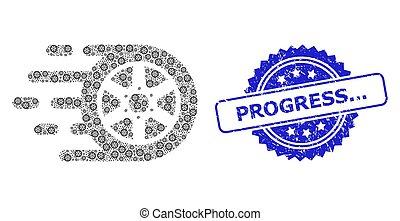 Rubber Progress... Seal and Recursion Car Wheel Icon Mosaic
