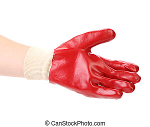 Rubber protective glove. Isolated on a white background.