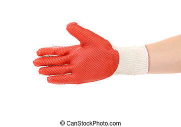 Rubber protective glove. Isolated on white background